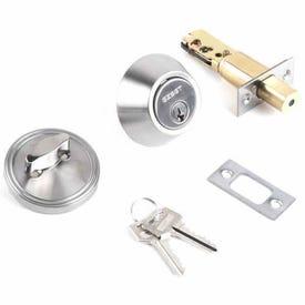 Tell Manufacturing RL100363 Deadbolt, 3 Grade, Keyed Key, Steel, Satin Nickel, 2-3/8, 2-3/4 in Backset