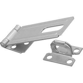 National Hardware V30 Series N102-384 Safety Hasp, 4-1/2 in L, 1-1/2 in W, Steel, Zinc, 0.44 in Dia Shackle