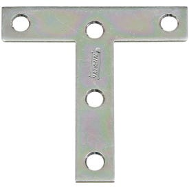 National Hardware V116 Series N113-704 T-Plate, 3 in L, 0.07 in Thick, Steel, Zinc