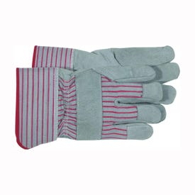 BOSS 4092 Driver Gloves, Men's, L, Wing Thumb, Rubberized Safety Cuff, Gray/Red