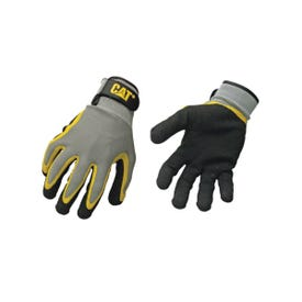 Cat CAT017415L Breathable Work Gloves, L, Knit Wrist Cuff, Latex-Coated/Polycotton/Polyester Shell, Black/Yellow