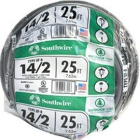 Southwire 14/2UF-W/GX25 Underground Feeder Cable with Ground, 14 AWG Wire, 2-Conductor, 25 ft L, Copper Conductor