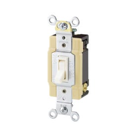 Eaton Wiring Devices 1242-7V-BOX Switch, 15 A, 120 V, 4-Way, Lead Wire Terminal, Thermoplastic Housing Material, Ivory