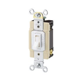 Eaton Wiring Devices 1242-7W-BOX Switch, 120 V, Wall Mounting, Thermoplastic, White