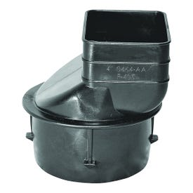 HANCOR 0464AA Downspout Adapter, 4 x 3-1/4 x 2-1/2 in Connection, Downspout x Pipe End, Polyethylene, Black