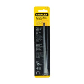 STANLEY 15-061 Coping Saw Blade, 6-1/4 in L, 15 TPI, HCS Cutting Edge