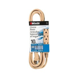 CCI 2865 Extension Cord, 16 AWG Cable, 10 ft L, 13 A, Beige Jacket