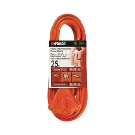 CCI 0825 Extension Cord, 14 AWG Cable, 25 ft L, 15 A, 125 V, Orange Jacket