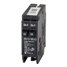 Cutler-Hammer BR1515 Circuit Breaker, Duplex, Type BR, 15 A, 1-Pole, 120/240 V, Thermal Magnetic Trip