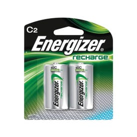 Energizer NH35BP-2 Rechargeable Battery, 1.2 V Battery, 2500 mAh, C Battery, Nickel-Metal Hydride, Green/Silver