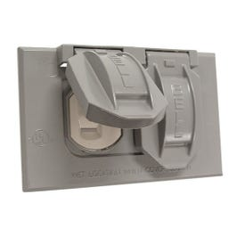HUBBELL 5712-5 Cover, 2-13/16 in L, 4-9/16 in W, Metal, Gray, Powder-Coated