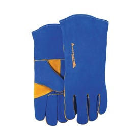 ForneyHide 53422 Welding Gloves, Men's, L, 13-1/2 in L, Gauntlet Cuff, Leather Palm, Blue, Leather Back