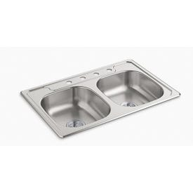 Sterling Middleton 14633-4-NA Kitchen Sink, 4-Faucet Hole, 33 in OAW, 22 in OAD, 6 in OAH, Stainless Steel