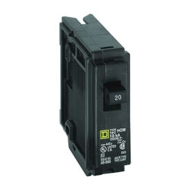 Square D Homeline HOM120CP Circuit Breaker, Miniature, 20 A, 1-Pole, 120 V, Fixed Trip, Plug-In Mounting, Black