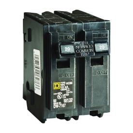 Square D Homeline HOM220CP Circuit Breaker, Miniature, 20 A, 2-Pole, 120/240 V, Fixed Trip, Plug-In Mounting