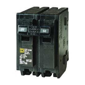 Square D Homeline HOM250CP Circuit Breaker, Miniature, 50 A, 2-Pole, 120/240 V, Fixed Trip, Plug-In Mounting
