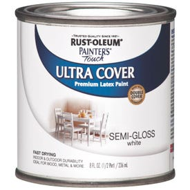 RUST-OLEUM PAINTER'S Touch 1993730 Brush-On Paint, Semi-Gloss, White, 0.5 pt Can