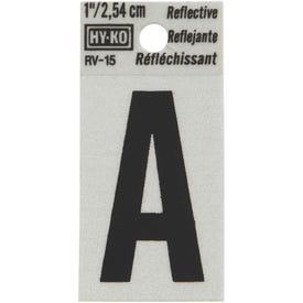 HY-KO RV-15/A Reflective Letter, Character: A, 1 in H Character, Black Character, Silver Background, Vinyl