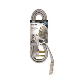 Powerzone ORD100306 Power Supply Dryer Cord, 10 AWG, Gray Jacket, 6 ft L