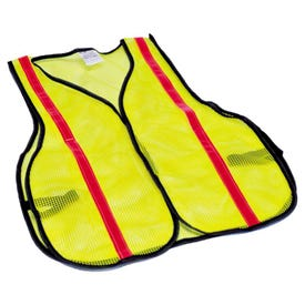 SAFETY WORKS SWX00354 High Visibility Safety Vest, One-Size, Polyester, Lime Yellow, Hook-and-Loop Closure