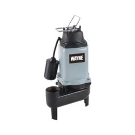 WAYNE WCS50T Sewage Pump, 1-Phase, 15 A, 120 V, 0.5 hp, 2 in Outlet, 15 ft Max Head, 10,000 gph, Iron
