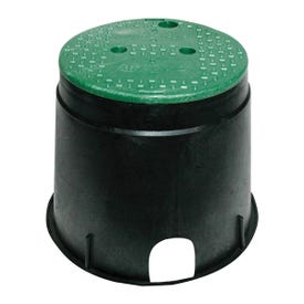 NDS 111BC Valve Box with Overlapping ICV Cover, 12-7/8 in L, 11-5/8 in H, 2-1/2 x 2-3/4 in Pipe Slots, Polyolefin