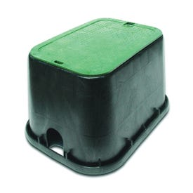 NDS 113BC Valve Box with Overlapping ICV Cover, 21 in L, 12 in H, 2-3/4 x 2-1/2 in Pipe Slots, Polyolefin