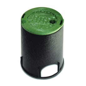NDS 107BC Valve Box with Overlapping ICV Cover, 8-3/8 in L, 8-3/8 in H, 2-3/4 x 2-3/8 in Pipe Slots, Polyolefin