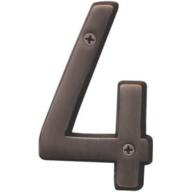 HY-KO Prestige BR-42OWB/4 House Number, Character: 4, 4 in H Character, Bronze Character, Solid Brass
