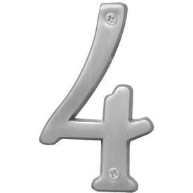 HY-KO Prestige BR-43SN/4 House Number, Character: 4, 4 in H Character, Nickel Character, Brass