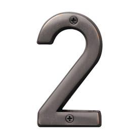 HY-KO Prestige BR-42OWB/2 House Number, Character: 2, 4 in H Character, Bronze Character, Solid Brass
