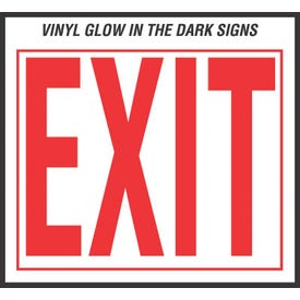 HY-KO EE-3 Safety Sign, Exit, Red Legend, Vinyl, 10 in W x 12 in H Dimensions