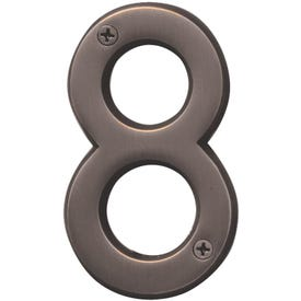 HY-KO Prestige BR-42OWB/8 House Number, Character: 8, 4 in H Character, Bronze Character, Brass