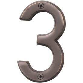 HY-KO Prestige BR-42OWB/3 House Number, Character: 3, 4 in H Character, Bronze Character, Brass