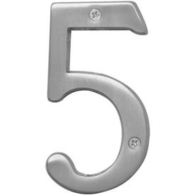 HY-KO Prestige BR-43SN/5 House Number, Character: 5, 4 in H Character, Nickel Character, Brass