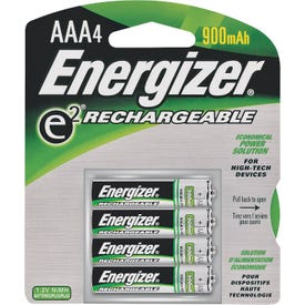 Energizer NH12BP-4 Rechargeable Battery, 1.2 V Battery, 850 mAh, AAA Battery, Nickel-Metal Hydride