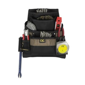 CLC Tool Works 1620 Nail/Tool Bag, 12-3/4 in W, 3-1/4 in D, 13-3/4 in H, 11 -Pocket, Polyester, Black/Brown