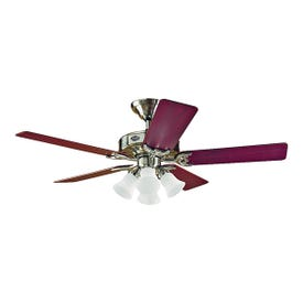 Hunter 53064/20183 Ceiling Fan, 5-Blade, Cherry/Maple Blade, 52 in Sweep, 3-Speed, With Lights: Yes
