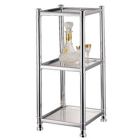 Simple Spaces HS04A-CH Shelving Unit, 3-Shelf, 18-3/4 in OAW, 13-3/4 in OAD, 30-1/2 in OAH, Polished Chrome