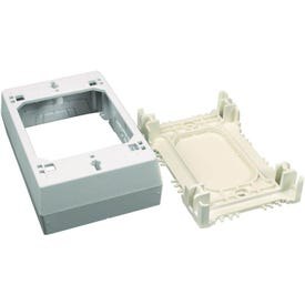Legrand Wiremold NMW Series NMW3 Outlet Box, 1-Gang, Plastic, White, Wall Mounting