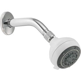 Peerless 76574WH Shower Head, 2 gpm, 1/2 in Connection, IPS, ABS, 3-11/16 in Dia