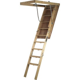 Louisville Big Boy L305P Wood Attic Ladder, Opening 30 x 60 in, Fits Ceiling Heights of 8 ft 9 in to 10 ft