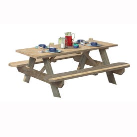 UPF 106116 Picnic Table, 27-1/2 in W, 6 ft H, Pine Table, Southern Yellow Table