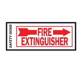 HY-KO FE-2R Safety Sign, Fire Extinguisher Right Arrow, Red Legend, Vinyl, 10 in W x 4 in H Dimensions
