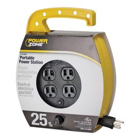 Powerzone ORCR220625 Cord Reel, 25 ft L Cord, 16 AWG