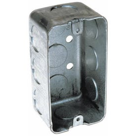 RACO 8650 Handy Box, 1-Gang, 11-Knockout, 1/2 in Knockout, Steel, Gray