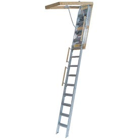 Louisville Everest Series AL258P Aluminum Attic Ladder, Opening 25-1/2 x 63 in, Fits Ceiling Heights of 10 ft to 12 ft