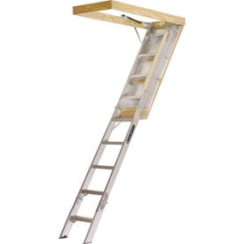Louisville Elite Series AA2510 Aluminum Attic Ladder, Opening 25-1/2 x 54 in, Fits Ceiling Heights of 7 ft 8 in to 10 ft 3 in