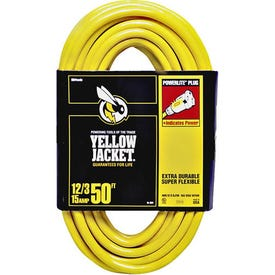 CCI 2884 Extension Cord, 12 AWG Cable, 50 ft L, 15 A, 125 V, Yellow Jacket