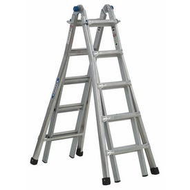 WERNER MT-22 Telescoping Multi-Ladder, 22 ft Max Reach H, 20-Step, 300 lb, Type IA Duty Rating, 1-1/4 in D Step